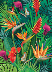 Panel Szklany Egzotyczne Background with exotic tropical flowers
