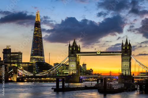 Foto op Canvas Londen Tower Bridge, the Shard, city hall and business district in the background at night, London, Uk.