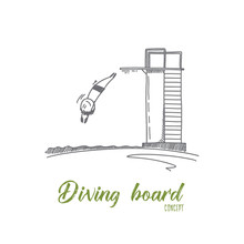 Diving Board Concept. Hand Dra...