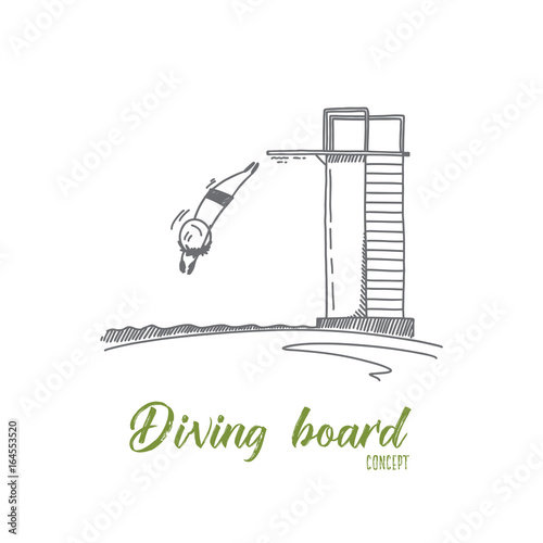 diving board concept hand drawn person jumping from diving board in