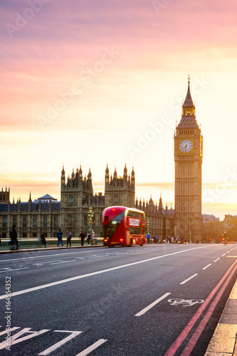 Poster London The Big Ben, House of Parliament and double-decker bus blurred in motion, London, UK