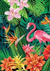 Naklejka Egzotyczne Background with exotic tropical flowers