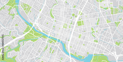 Vector city map of Austin, Texas.