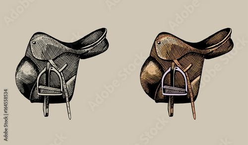 Fotografie, Obraz  leather equestrian saddle, hand drawn illustration