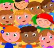 Crowd of happy children with hands up vector