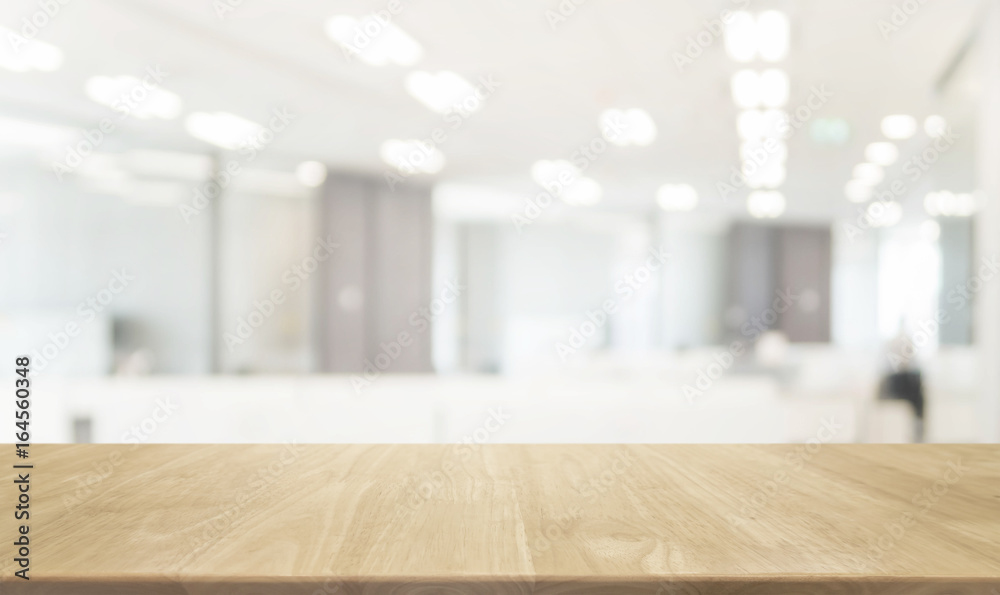 Fototapety, obrazy: Wood table top and blurred bokeh office interior space background - can used for display or montage your products.
