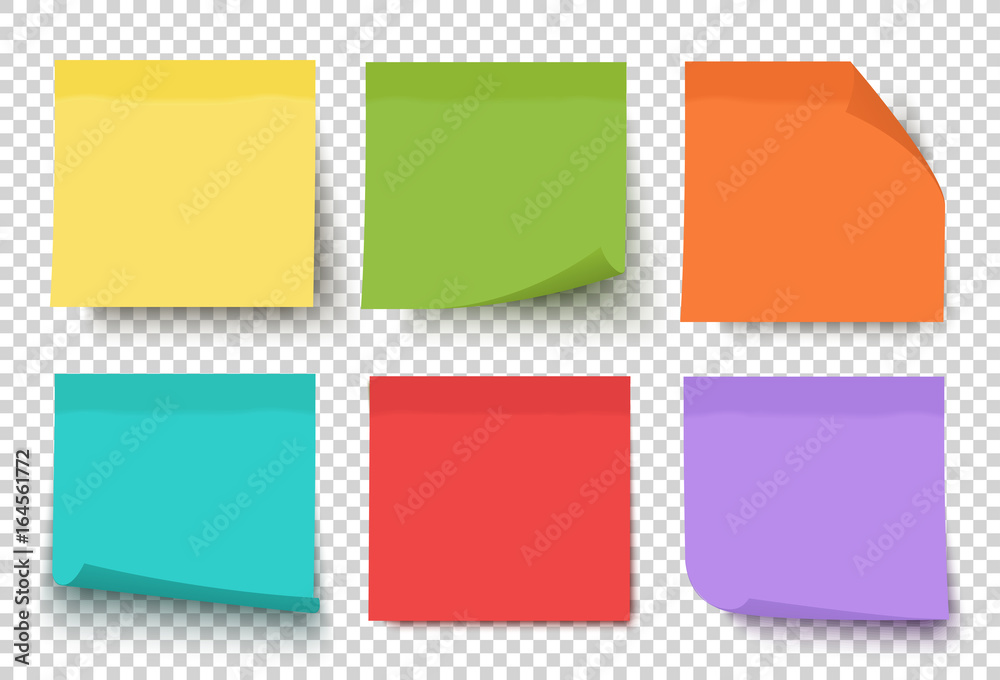 Fototapety, obrazy: Multicolor post it notes isolated on transparent background. Colored sticky note set. Vector realistic illustration. Sticky note collection with curled corners and shadows.