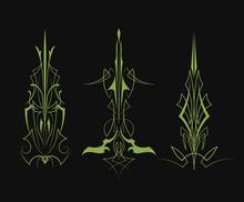 Set Of Pinstripe Pattern Vinta...