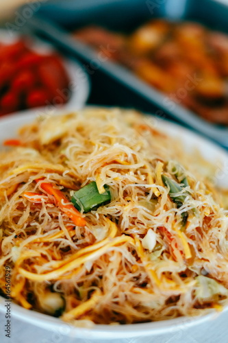 Tasty stir fry rice noodle with meat and vegetables, Asian food celebration