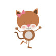 colorful caricature of cute expression female kitten in dance pose with bow lace vector illustration
