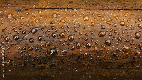 Obraz Drop of water on wood with raindrop - fototapety do salonu