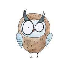 Cartoon Owl Hand Drawn Watercolor Aquarelle Illustration