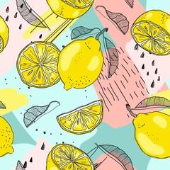 FototapetaLemon seamless pattern. Hand sketched fruits illustration. Vector design.