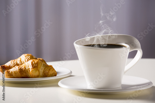 Fototapety, obrazy: White cup with coffee and croissants