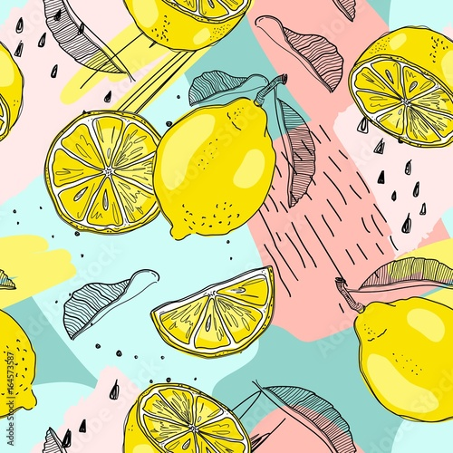 Lemon seamless pattern. Hand sketched fruits illustration. Vector design.