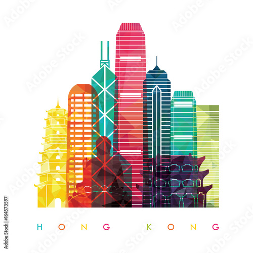 Photographie Hong Kong detailed silhouette. Vector illustration