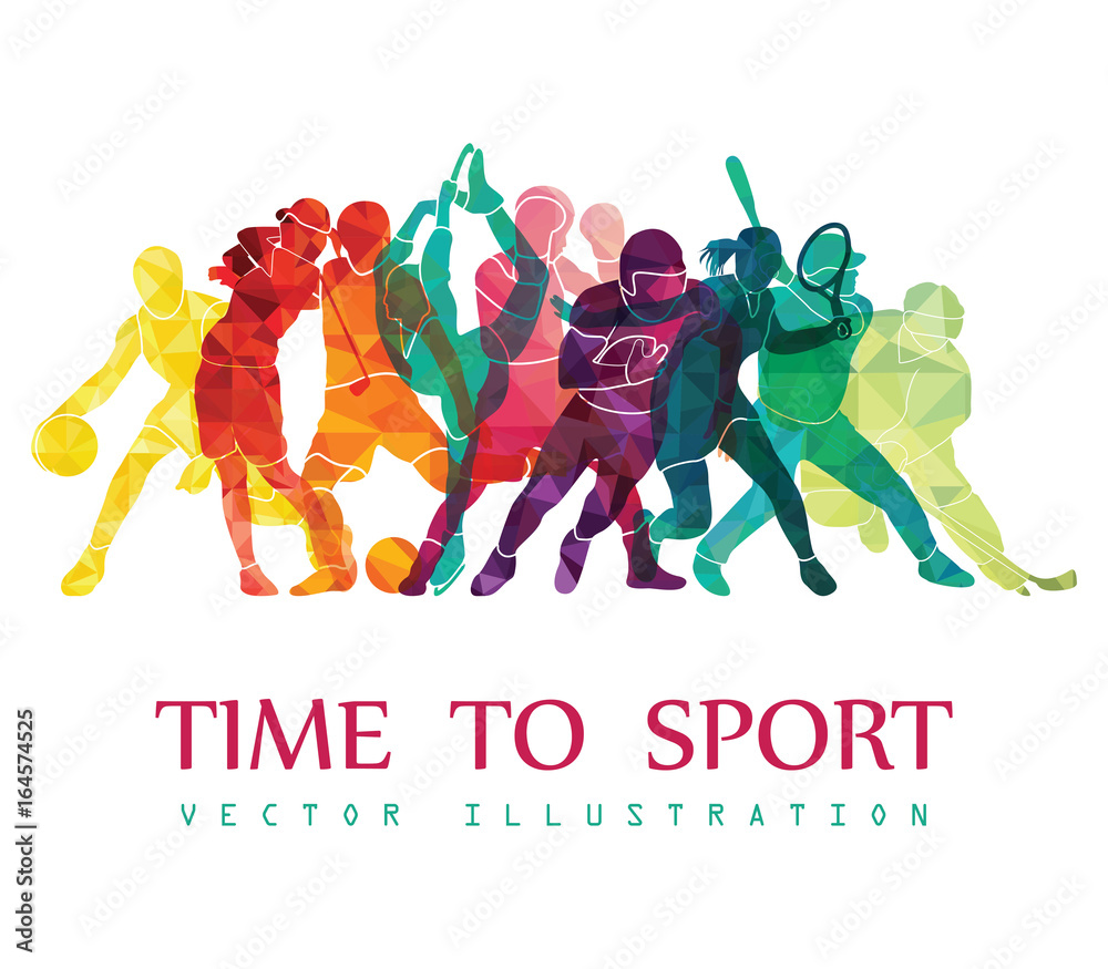Fototapety, obrazy: Color sport background. Football, basketball, hockey, box, golf, tennis. Vector illustration