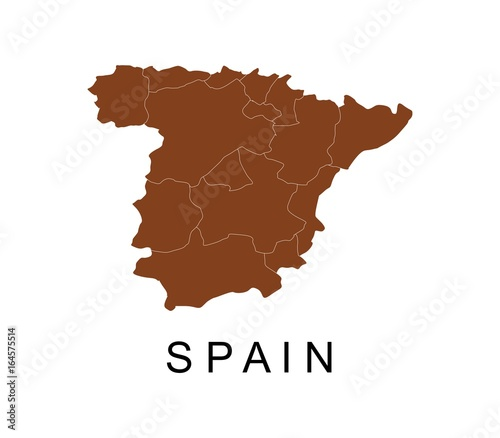 Spain map with regions Canvas Print