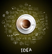 Infograph background template with a fresh coffee on table with infographic design