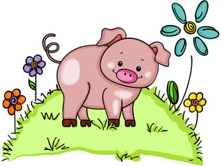 Naklejka Cute pig in green grass with flowers