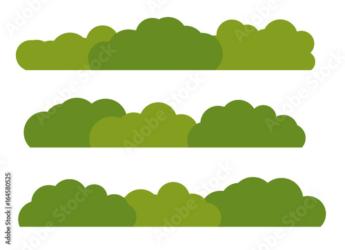 Leinwand Poster Green Bush Landscape Flat Icon Isolated on White Background. Vec