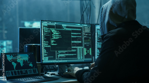 Dangerous Hooded Hacker Breaks into Government Data Servers and Infects Their System with a Virus Fotobehang