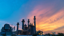 Gas Turbine Electrical Power Plant At Dusk With Orange Sky,fuel,industry