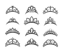 Vector Tiara Set. Beautiful Qu...