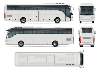 Fototapeta Bus vector template for car branding and advertising. Isolated coach bus set on white background. All layers and groups well organized for easy editing and recolor. View from side, front, back, top.