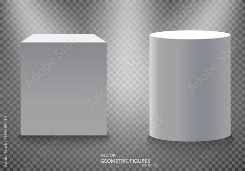 Pedestal, white empty 3d podium and spotlights vector illustration Canvas-taulu