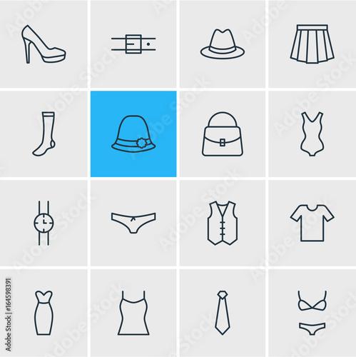 Fotografie, Obraz  Vector Illustration Of 16 Garment Icons