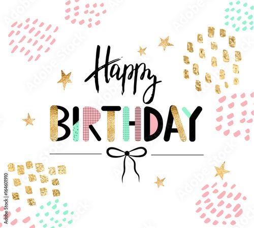 Fototapeta Happy Birthday Greeting Card And Party Invitation Template Vector Illustration