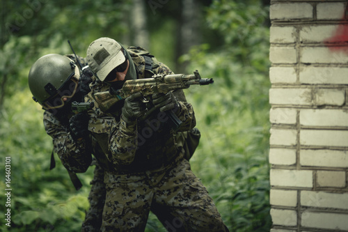 Photo  Photo of military in camouflage
