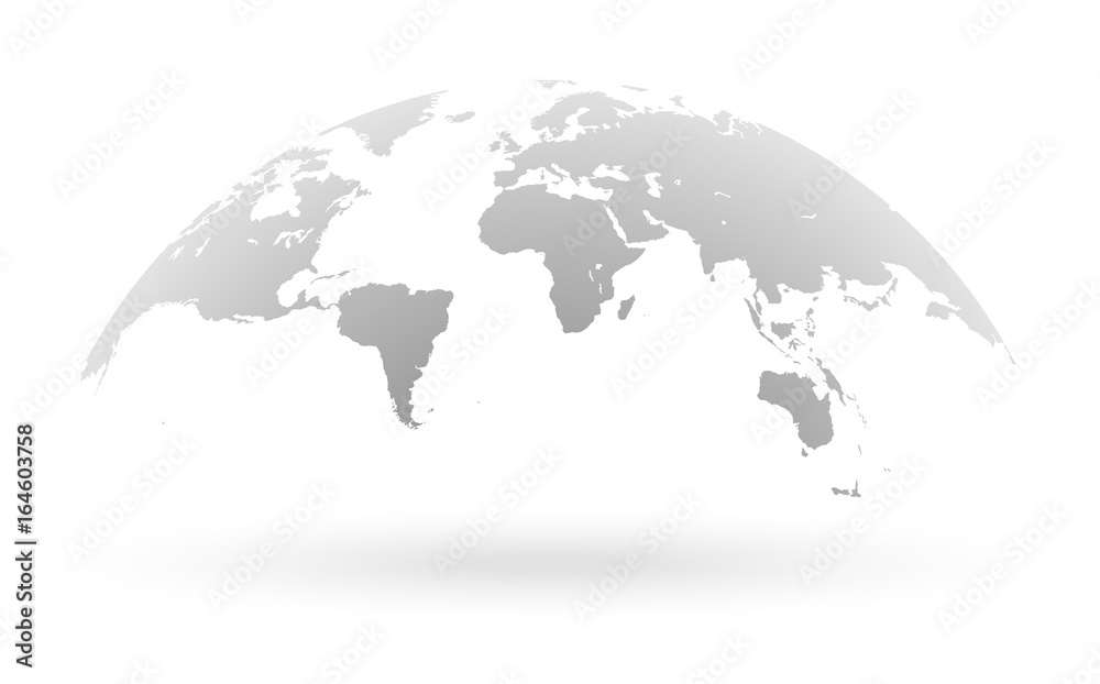 Fototapety, obrazy: Grey world map globe isolated on white background