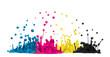 canvas print picture - CMYK Tropfen aus Farbe oder Tinte spritzen als Symbol für Cyan Magenta Gelb und Schwarz bei Druckerfarbe im Druck