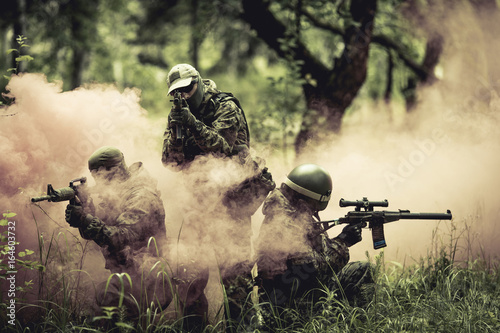 Fotomural  Officers amid smoke in forest