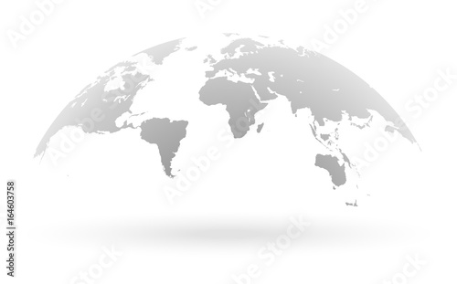 Fotografie, Obraz  Grey world map globe isolated on white background