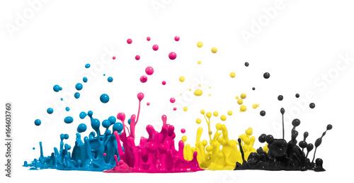 Fotografie, Obraz CMYK Tropfen aus Farbe oder Tinte spritzen als Symbol für Cyan Magenta Gelb und