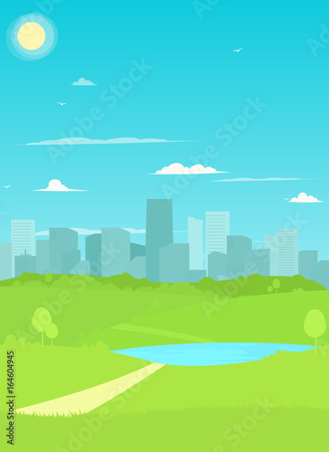 Foto op Canvas Lichtblauw Vector City Park