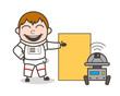 Cartoon Astronaut with Robot and Presentation Board Vector Illustration