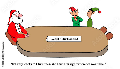Fotografia, Obraz  Christmas cartoon about two elves who think they have the upper hand in the labor negotiations with Santa Claus
