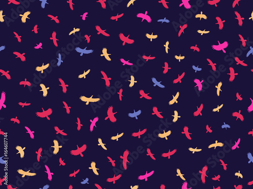 Poster Seamless background with birds. Drawing colorful birds. Vector illustration