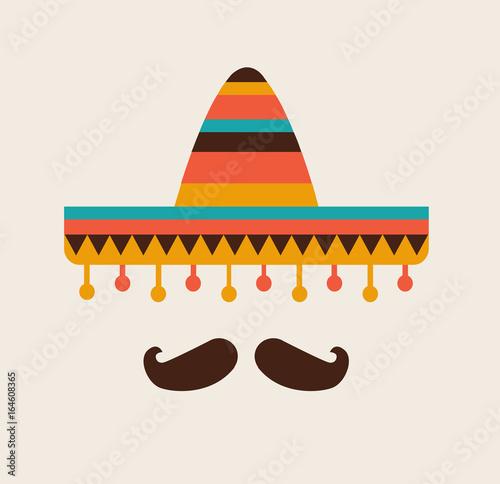 Fotografie, Obraz  Sombrero and mustache. Mexican flat icon. Vector stock.