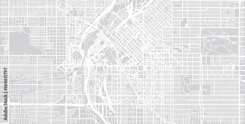 Fototapeta Vector city map of Denver, Colorado.