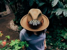 Butterfly On Hat Worn By Woman...
