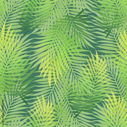 Ingelijste posters Tropische Bladeren Lush green gradient color banana palm tree leaves seamless pattern. Dense jungle tropic background. Hot summer season wallpaper. Artistic textile print