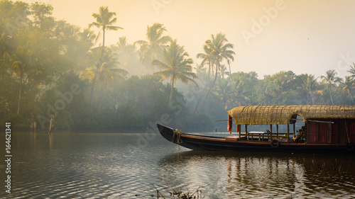 A traditional house boat is anchored on the shores of a fishing lake in Kerala's Backwaters, India Fotobehang