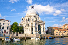 Basilica Santa Maria Della Salute On Grand Canal In Venice
