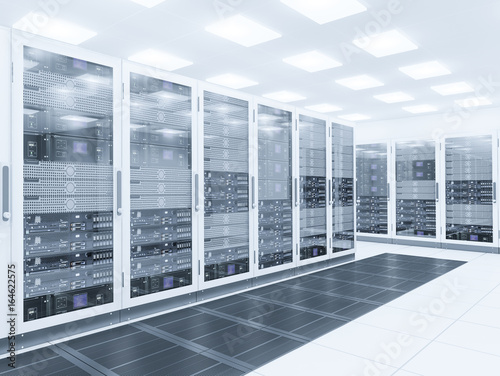 Server room. 3d rendering of data center