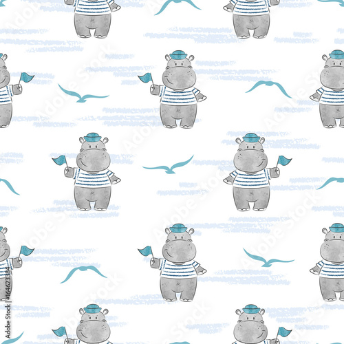 Seamless pattern with Hippo Sailor Slika na platnu